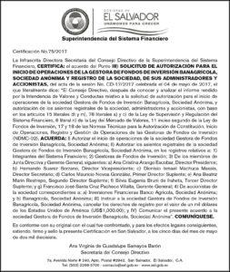 Autorización Inicio de Operaciones GFI Banagrícola